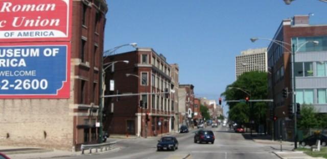Milwaukee Avenue at Augusta Boulevard--view northwest