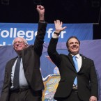 New York Gov. Andrew Cuomo and Bernie Sanders