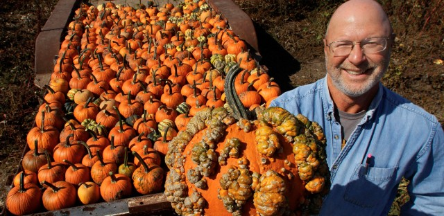John Ackerman poses for a photo with one of his most popular pumpkins