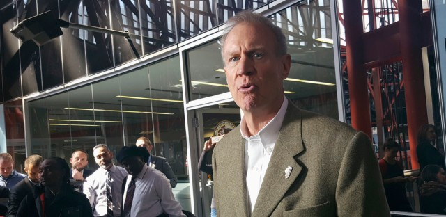 Illinois Gov. Bruce Rauner talks with reporters at the Thompson Center in Chicago, Friday, March 3, 2017, after his meeting with Grammy-winning artist Chance the Rapper.