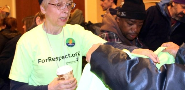 Wal-Mart employee Marie Kanger-Born joined hundreds of protesters on Black Friday outside Chicago area Wal-Mart stores.