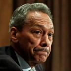 Federal Housing Finance Agency Director Mel Watt testifies at a Senate banking committee hearing in May 2017. An employee says her secret recordings show that he held up her pay raise as he pressed her for a relationship.