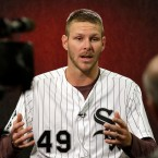 Chicago White Sox pitcher Chris Sale talks to members of the media during a reception at the baseball team's annual fan convention on Friday, Jan. 29, 2016, in Chicago. (AP Photo/Nam Y. Huh)