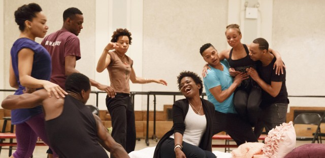 LaChanze (center) rehearses with the company of the 2016 <em>Cabin in the Sky </em>concert series, directed by Ruben Santiago-Hudson.