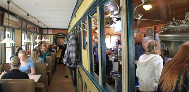 The expanded Franks Diner in Kenosha. Built in the 1920s to look like a train car, but never intended for the rails.