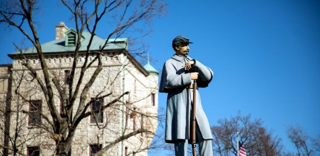 A statue is shown outside of the Illinois Veterans Home in downstate Quincy.