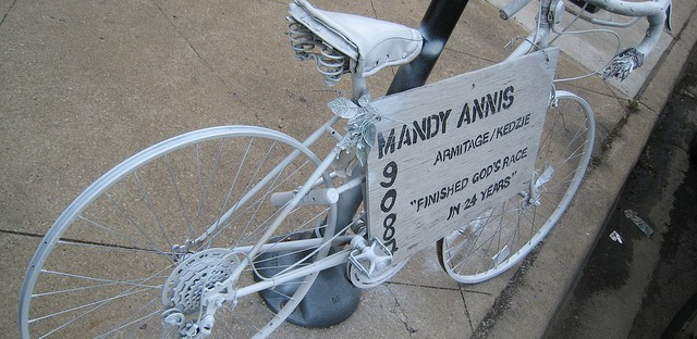 Ghost bikes around Chicago commemorate cyclists who have been killed in motor vehicle accidents.