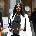 Cook County State's Attorney Kim Foxx arrives to speak to reporters at the Leighton Criminal Courthouse on Saturday, Feb. 23, 2019.