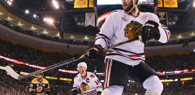 Blackhawks and bruins knotted at 2 , thanks to Brent Seabrook.