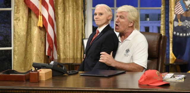 Kate McKinnon as Attorney General Jeff Sessions and Alec Baldwin as President Trump in the opening sketch of the 43rd season premiere of Saturday Night Live.