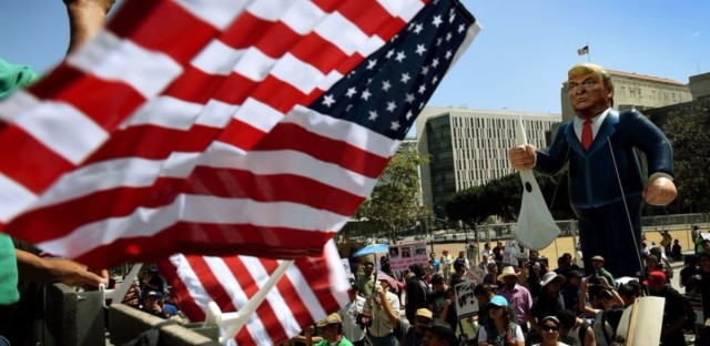 "Members of the ""Full Rights for Immigrants Coalition"" displayed a giant effigy of then-candidate Donald Trump on May Day in Los Angeles last year."
