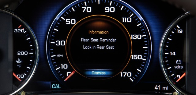 Rear Seat Reminder, designed to remind drivers to check the back seat as they exit their vehicles, will be offered in many Buick, Cadillac, Chevrolet and GMC vehicles by the 2018 model year.