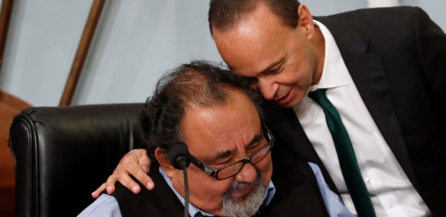 Rep. Luis Gutierrez, D-Ill., right, announced last month that he will not seek reelection to the U.S. House of Representatives. Here he's seen speaking with Rep. Raul Grijalva, D-Ariz., before a House Committee hearing on Capitol Hill to examine challenges in Puerto Rico's recovery, on Nov. 7, 2017. (AP Photo/Alex Brandon)