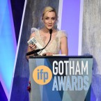"Actress Saoirse Ronan accepts the best actress award for ""Lady Bird"" at the 27th annual Independent Film Project's Gotham Awards at Cipriani Wall Street on Monday, Nov. 27, 2017, in New York."