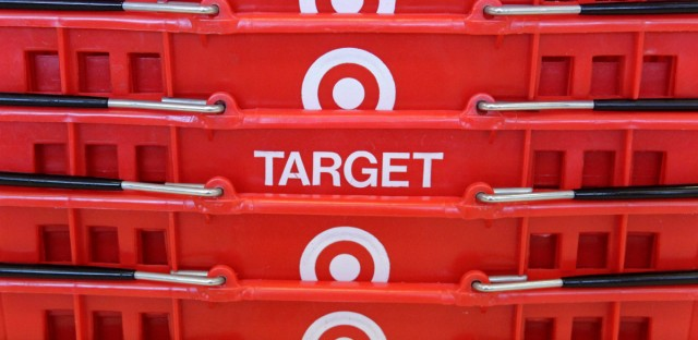 Shopping baskets are stacked at a Chicago area Target store in 2009.