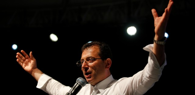 Ekrem Imamoglu, the opposition, Republican People's Party's (CHP) mayoral candidate in Istanbul, gestures during a rally in Istanbul, late Monday, May 6, 2019. Turkey's state-run news agency says the country's highest electoral body has ruled for a rerun of the Istanbul mayoral election after President Recep Tayyip Erdogan's party challenged the legitimacy of the vote an opposition candidate narrowly won.