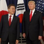 President Trump meets with Japanese Prime Minister Shinzo Abe (right) and South Korean President Moon Jae-in before the Northeast Asia Security dinner at the U.S. Consulate General in Hamburg, Germany, on July 6. Evan Vucci/AP