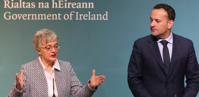 Ireland's Minister for Children and Youth Affairs Katherine Zapponethe and Prime Minister Leo Varadkar media on the government's plans for a referendum on Ireland's restrictive abortion laws, following a specially convened cabinet meeting at Government Buildings in Dublin Monday Jan. 29, 2018.