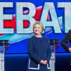 Democratic presidential candidates Hillary Clinton and Bernie Sanders at Sunday's debate. They meet again tonight in Miami. Geoff Robins/AFP/Getty Images