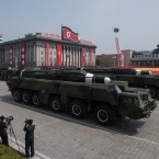 An unidentified missile is displayed during a military parade marking the 105th anniversary of the birth of late North Korean leader Kim Il-Sung in Pyongyang, the nation's capital, on Saturday.