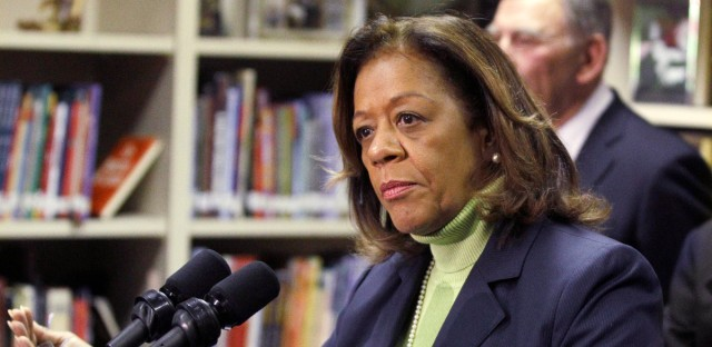 Former Chicago Public Schools CEO Barbara Byrd-Bennett speaks at a news conference in Chicago on Oct. 12, 2012.