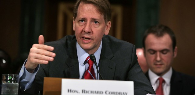 Richard Cordray, director of the Consumer Financial Protection Bureau, testifies before a Senate committee last year. The Trump administration is trying to bring the independent bureau under the president's direct control.