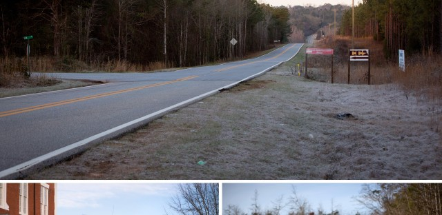 (Top) Signs point to the entrance to the Stewart Detention Center. (Bottom) Scenes from the town of Lumpkin, Ga.