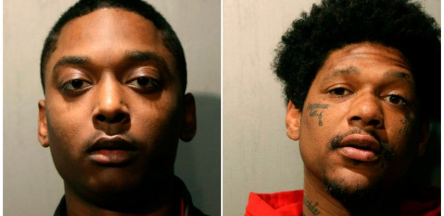 This combination of March 2019 booking photos released by the Chicago Police Department shows Menelik Jackson, left, and Jovan Battle. The two men are charged in the slaying of an off-duty Chicago police officer.