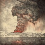 A lithograph illustration of the eruption of Krakatoa.