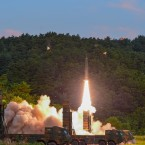 South Korea's Hyunmoo II ballistic missile is fired during an exercise at an undisclosed location in South Korea on Monday, Sept. 4, 2017.