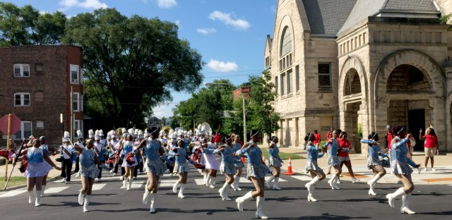A marching band performs at the 88th Bud Billiken Parade on Saturday on the South Side. The annual parade is a celebration of education in Chicago's black community.