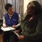 Dr. Kathy Tossas-Milligan (left), an epidemiologist with the University of Illinois at Chicago, interviews Yolanda Flowers as part of a pilot project to study the high infant mortality rate in Chicago's Englewood neighborhood. (Miles Bryan/WBEZ)