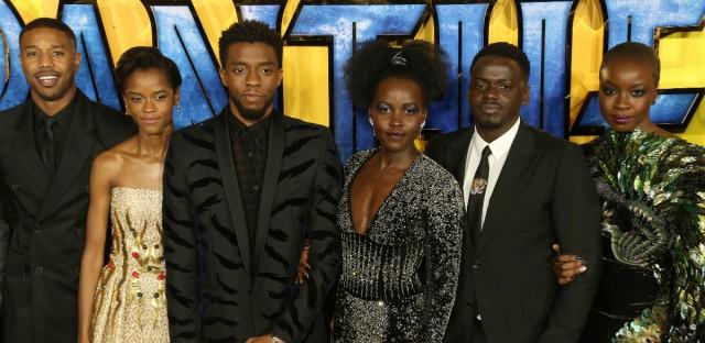 Actors Michael B. Jordan, Leitia Wright, Chadwick Boseman, Lupita Nyong'o, Daniel Kaluuya and Danai Gurira pose for photographers upon arrival at the premiere of the film 'Black Panther' in London, Thursday, Feb. 8, 2018.