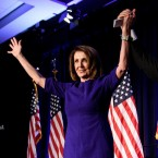 House Democratic Leader Nancy Pelosi, D-Calif., and Rep. Ben Ray Lujan, D-N.M., Democratic Congressional Campaign Committee chairman, celebrate.