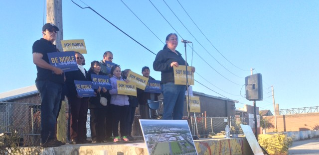 A couple dozen supporters of a 17th Noble charter campus rallied at the site where they want the school built.