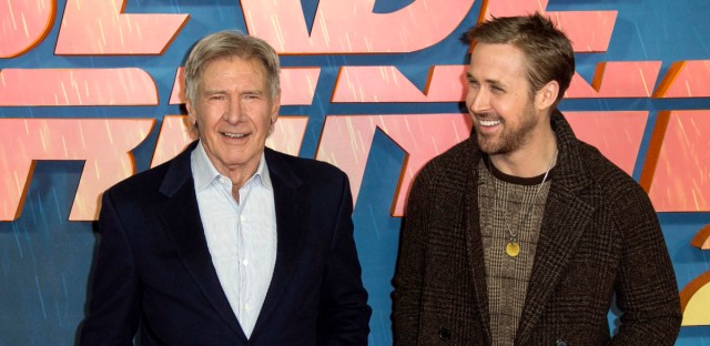 """Actors Harrison Ford, left, and Ryan Gosling pose for photographers during the photo call for """"Blade Runner 2049"""" in London on Sept. 21, 2017."""