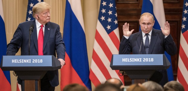 "President Trump said of Russian President Vladimir Putin, ""I called him 'main competitor,' and a good competitor he is."" (Chris McGrath/Getty Images)"