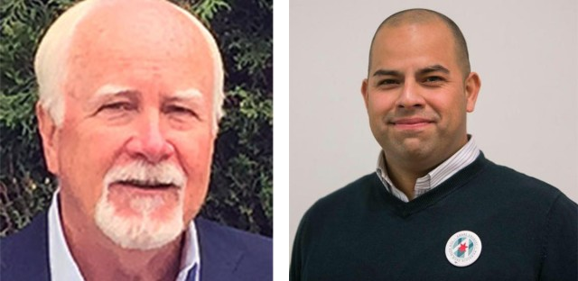 Ald. Patrick O'Connor (left) appeared headed for a runoff after falling to nab 50 percent of the votes in a crowded five-way field Tuesday. Andre Vasquez (right) is poised to be his likely opponent in the April 2 runoff.