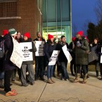 Teachers picket during a four-day strike in December at Acero charter schools. It was the nation's first charter school walkout. Chicago is now on its second strike. Staff at four Chicago International Charters Schools walked out on Tuesday.