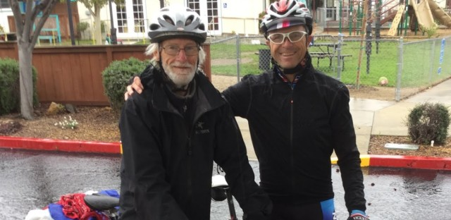 Global cyclist George Christensen (left) with cyclist and former Active Transportation staff member Randy Warren