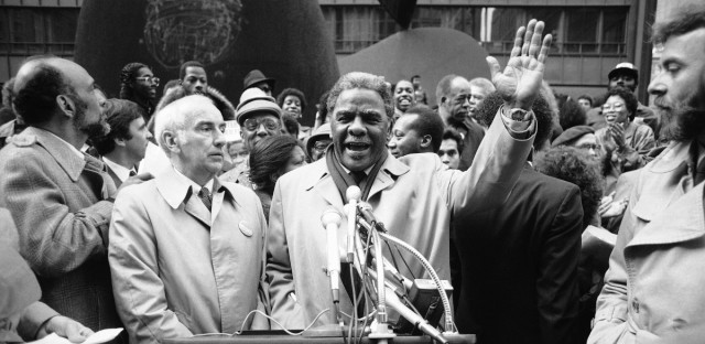 Rep. Harold Washington, last minute campaigning at the Daley Plaza in Chicago on Monday, Feb. 21. 1983. Washington opposed by incumbent mayor Jane Byrne and State's Attorney Richard M. Daley for the Democratic nomination in the Chicago mayoral race.