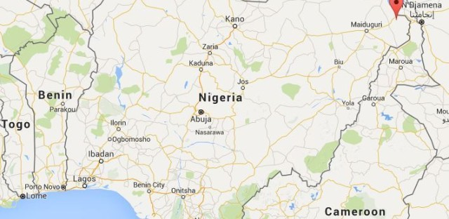The location of Kusumma village in northeastern Nigeria, where the Nigerian military says it recued 520 hostages from Boko Haram. It says 309 people were rescued from other villages in the same state.