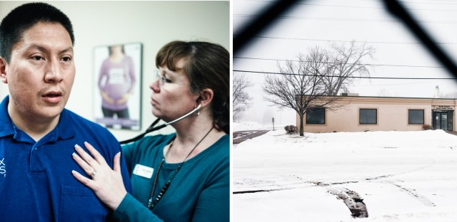 Living in Sioux Falls means that Marrowbone can get checkups and other health care at the Urban Indian Health clinic (right).
