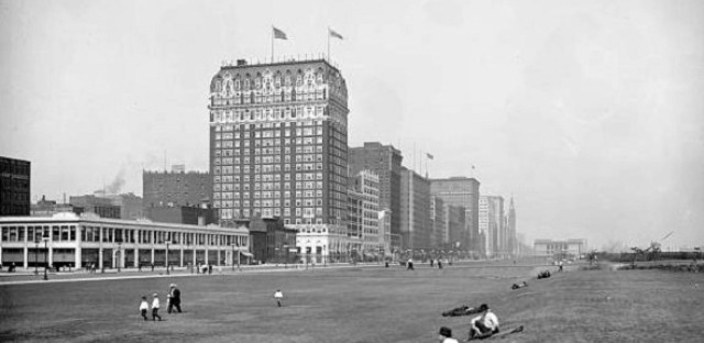 The Blackstone Hotel and Grant Park, about 1920