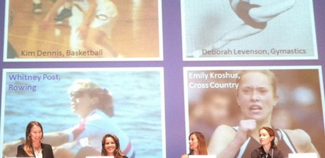 Timberline Knolls' Dr. Kimberly Dennis, left, leads a panel of elite female athletes.