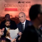 """Today"" show co-anchor Matt Lauer appears before the NBC Commander-In-Chief Forum held at the Intrepid Sea, Air and Space museum aboard the decommissioned aircraft carrier Intrepid, New York, Wednesday, Sept. 7, 2016."