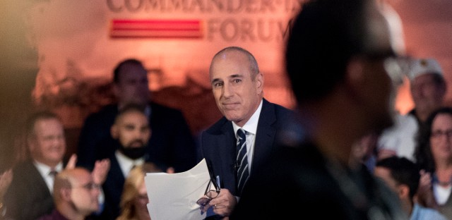 """""""Today"""" show co-anchor Matt Lauer appears before the NBC Commander-In-Chief Forum held at the Intrepid Sea, Air and Space museum aboard the decommissioned aircraft carrier Intrepid, New York, Wednesday, Sept. 7, 2016."""