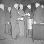 Electoral College members cast votes in Albany, N.Y., on Dec. 16, 1940.