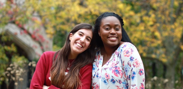 Asya Akca and Shae Omonijo both University of Chicago political science majors in their third-year, and the women behind the bust of Dr. Georgiana Simpson being unveiled Tuesday.