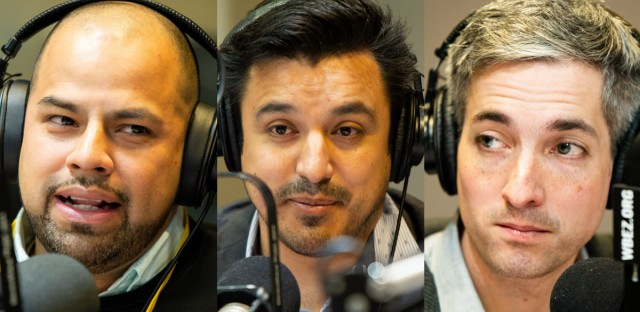 Alderman-elects Andre Vasquez (40th Ward), Byron Sigcho-Lopez (25th Ward) and Daniel La Spata (1st Ward).
